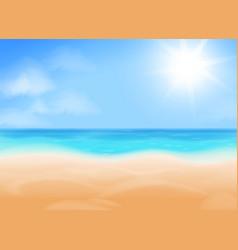 blue sky bright sun ocean and beach vector image