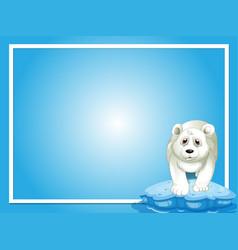 Border template with polar bear on ice vector