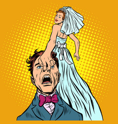 bride drags groom with her vector image