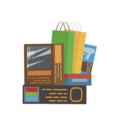 Bunch of purchases shopping vector