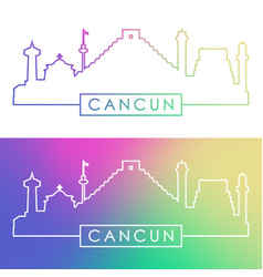 Cancun skyline colorful linear style vector