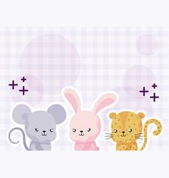 Cartoon animales with decor cute card vector