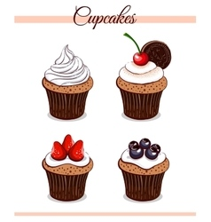 Cartoon Cupcakes Set vector image