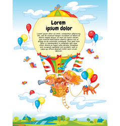 Cartoon kids riding hot air balloon vector