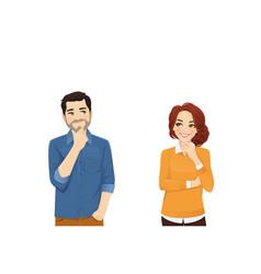 Casual man and woman thinking vector