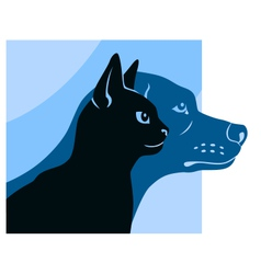 cat and dog silhouettes square vector image