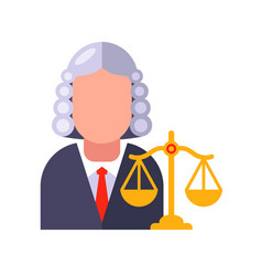 Character judge in gown and wig decides the vector