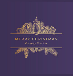 Christmas frame banner with vintage typography and vector