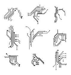 circuit board elements white thin line icon set vector image