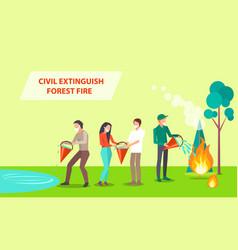 Civil extinguish forest fire vector