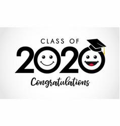 class 2020 congratulations emoticon icons vector image