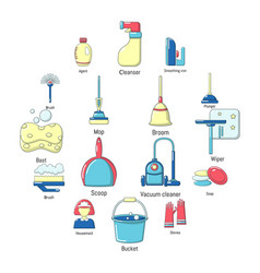 cleaning tools icons set cartoon style vector image