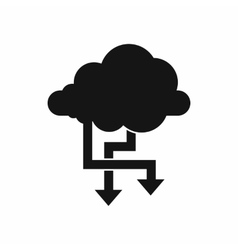 Cloud and arrows icon simple style vector