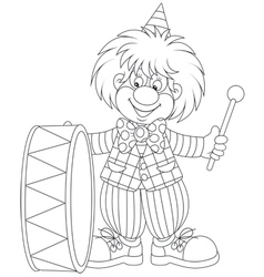 Clown drumming vector