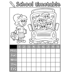 Coloring book school timetable 7 vector