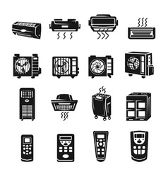 Conditioner icons set simple style vector