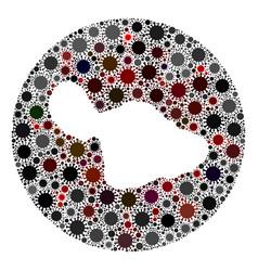 coronavirus stencils round maui island map mosaic vector image