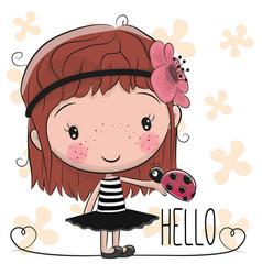 Cute cartoon girl with ladybug vector
