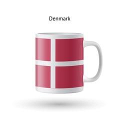 Denmark flag souvenir mug on white background vector