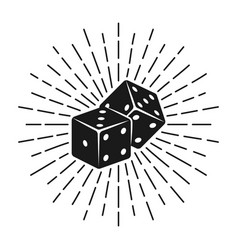 dice for gambling with rays vector image