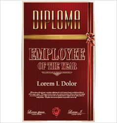 Diploma employee of the year vector image