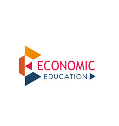 E letter icon for economic education vector