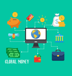earn money online modern flat consept vector image