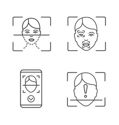 facial recognition linear icons set vector image
