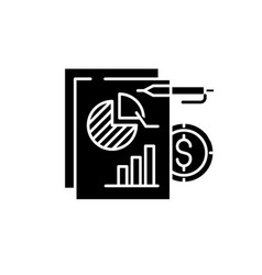 financial budget black icon sign on vector image