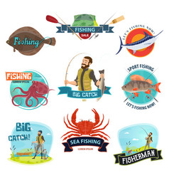 Fisherman sport fishing icons vector