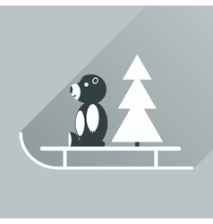 Flat icon with long shadow sled bear vector
