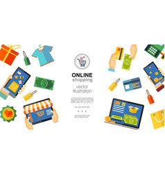 flat online shopping concept vector image