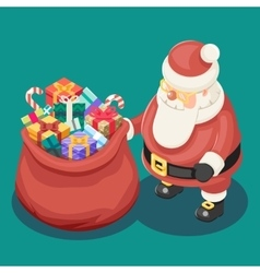 Gifts Bag Cute Isometric 3d Christmas Santa Claus vector image