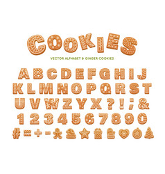 gingerbread alphabet for decoration design vector image
