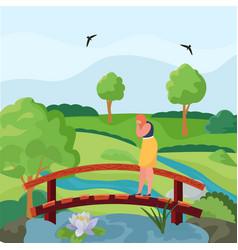 Girl in depression is standing on bridge sad vector