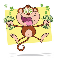 Greedy monkey character jumping with cash money vector