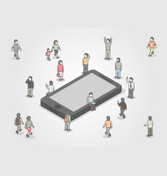 Group of people standing around smartphone social vector