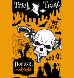 halloween trick or treat night party poster design vector image