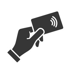 hand with nfc payment credit card icon vector image