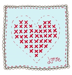 Handkerchief with heart embroidery vector