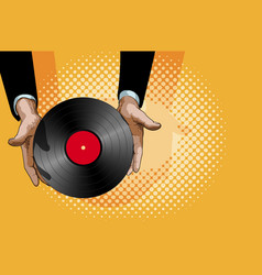 hands vinyl plate vector image