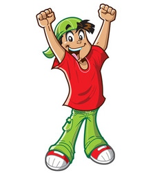 Happy Cheering Boy vector image