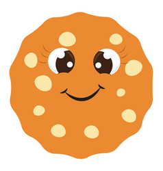 happy cookie on white background vector image