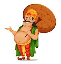 Happy onam festival in kerala king mahabali vector