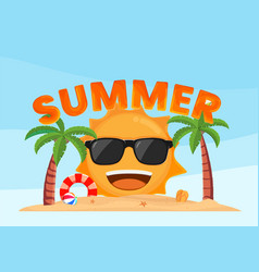 happy sun smiling on tropical beach summer vector image