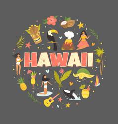 Hawaii emblem print with symbols landmarks icons vector