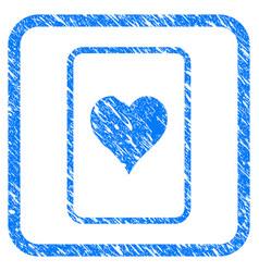 hearts gambling card framed grunge icon vector image