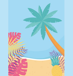 hello summer tropical leaves foliage palm tree vector image