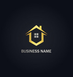 Home window realty gold logo vector