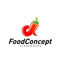 hot food logo concept red chili logo design vector image